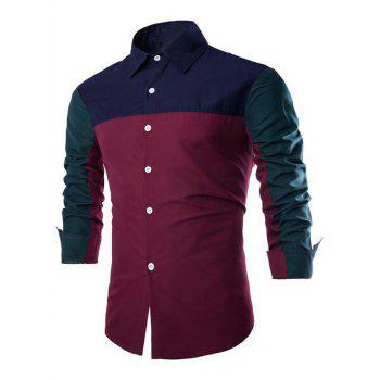 Turn-Down Collar Long Sleeve Color Block Spliced Design Shirt