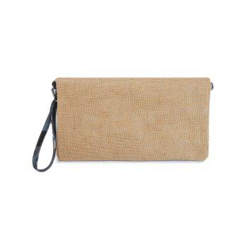 Color Block Jute Splice Clutch Bag -  BLUE