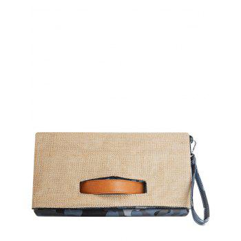 Color Block Jute Splice Clutch Bag - BLUE BLUE