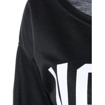 Casual Letter Loose-Fitting Sweatshirt - BLACK S