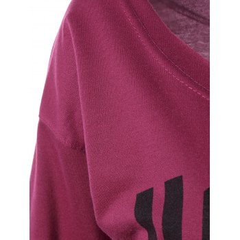 Casual Letter Loose-Fitting Sweatshirt - PLUM M