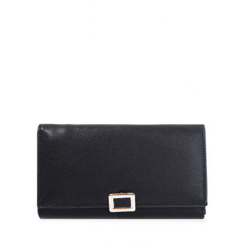 PU Leather Covered Closure Metal Wallet - BLACK BLACK