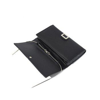 PU Leather Covered Closure Metal Wallet - BLACK