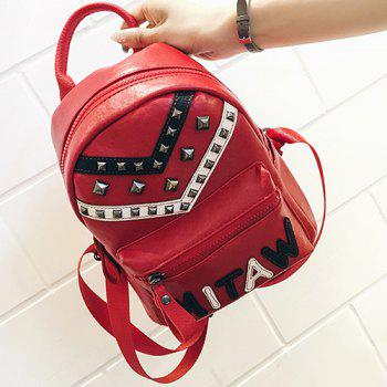 PU Leather Letter Pattern Metal Rivets Backpack - RED