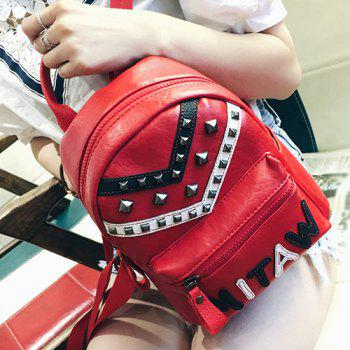 PU Leather Letter Pattern Metal Rivets Backpack