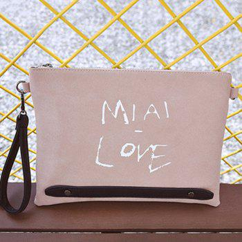 PU Leather Zipper Letter Print Clutch Bag - PINK PINK