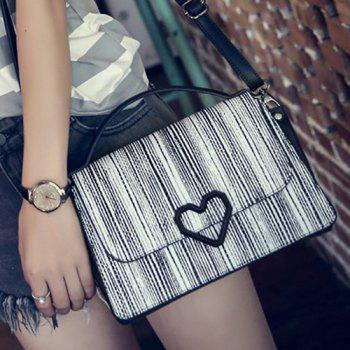 Heart Pattern Striped Embossing Shoulder Bag