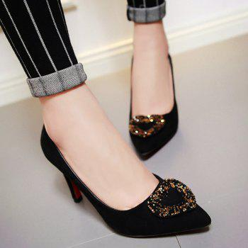 Suede Rhinestone Point Toe Pumps