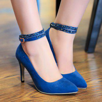 Suede Ankle Strap Sequins Point Toe Pumps