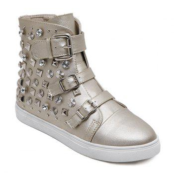 Buckle Rear Zip High Top Rhinestone Rivet Flat Shoes