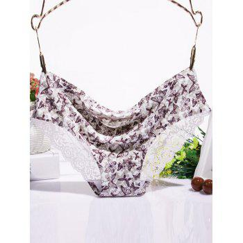 Scalloped Lace Spliced Butterfly Print Briefs
