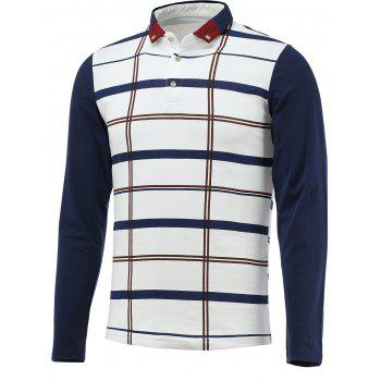 Long Sleeve Button Down Checked Polo Shirt