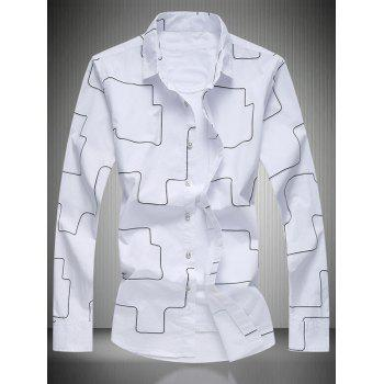 Turn-Down Collar Long Sleeve Geometric Pattern Shirt