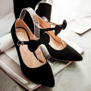 Buckle Point Toe Bowknot Pumps - BLACK 41