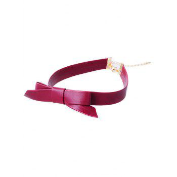 Bowknot Faux Leather Choker Necklace - RED