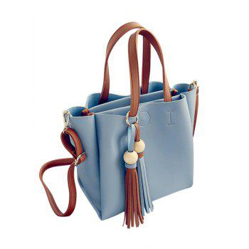 Colour Block Metal Ring Tassels Design -  BLUE