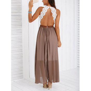 Fashionable Lace Spliced Backless Maxi Dress