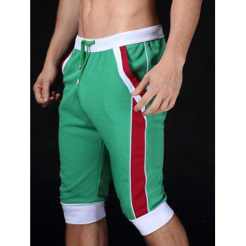 Color Block Splicing Design Lace-Up Sport Cropped Joggers