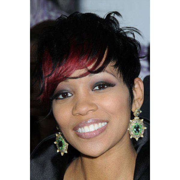 Full Bang Short Fluffy Black Highlights Wine Red Synthetic Wig