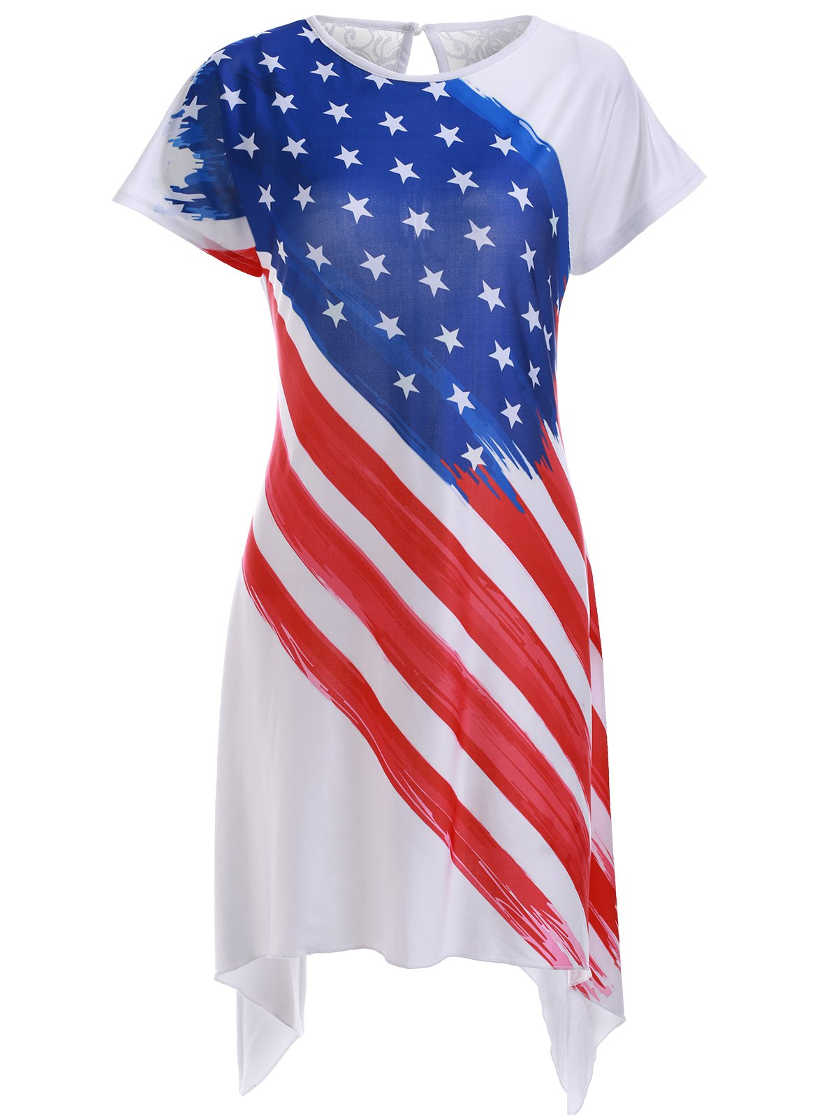 Casual American Flag Print High Low Shift Dress - WHITE XL