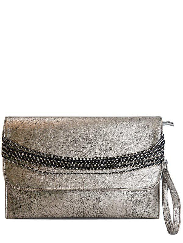 PU Lether Multi Chains Clutch Bag - SILVER GRAY