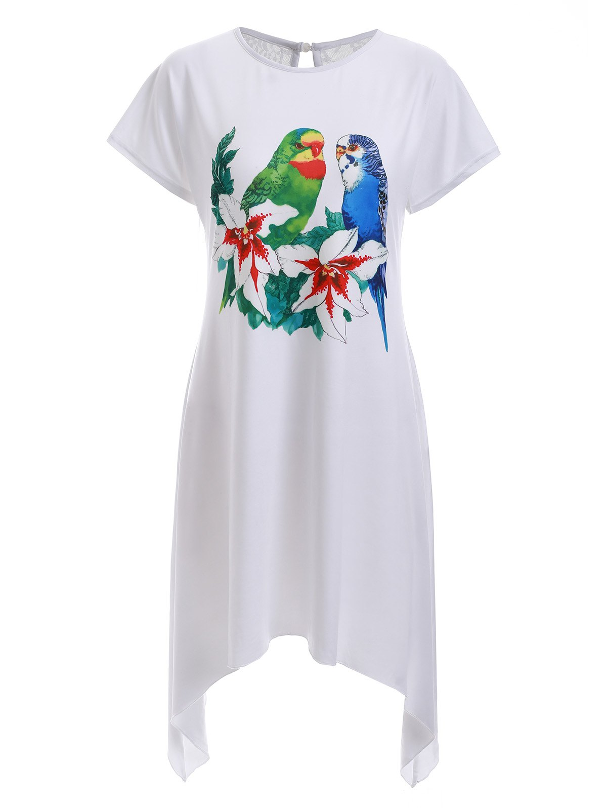 Casual Bird Print High Low Shift Dress - WHITE XL