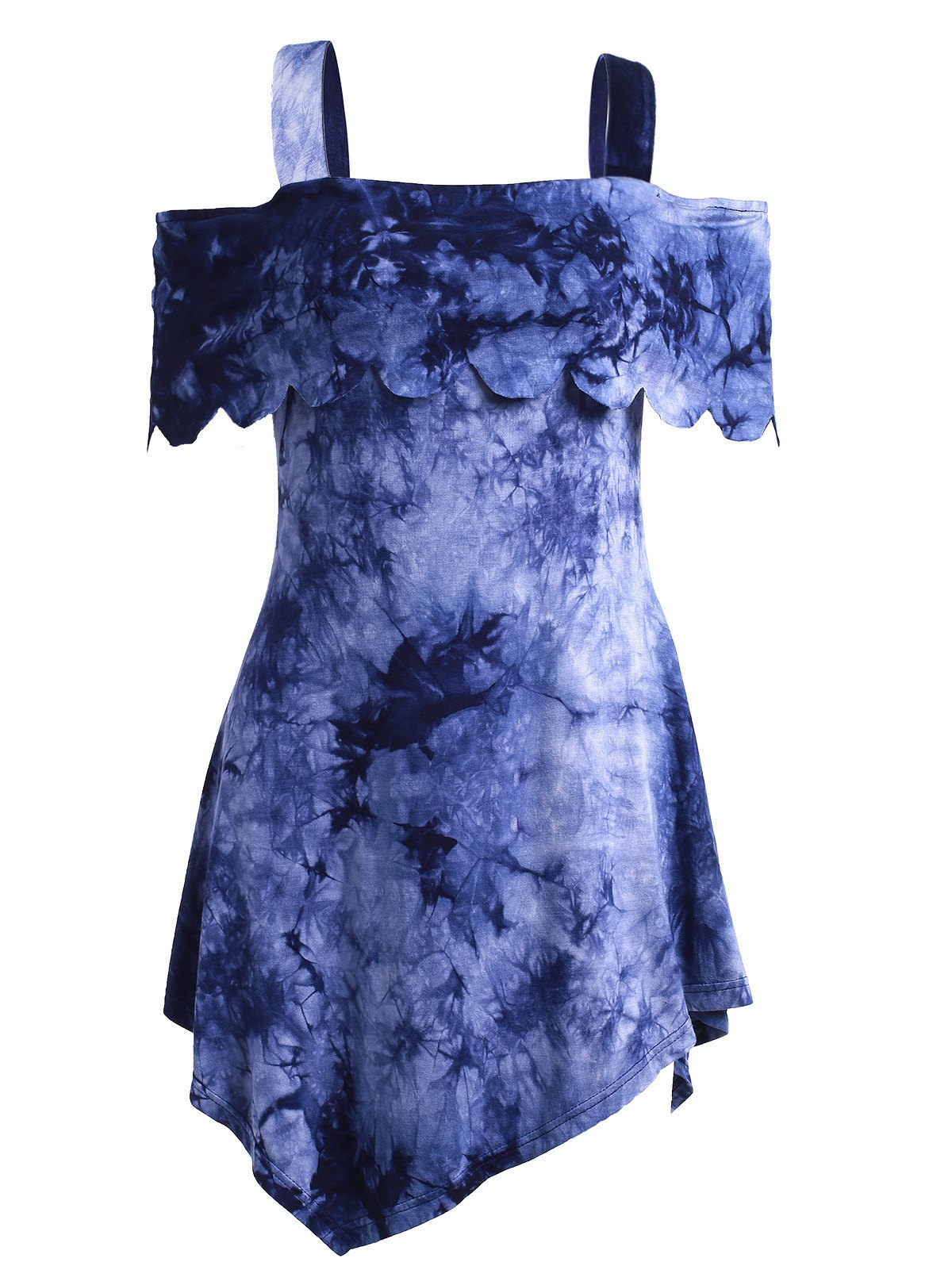 Casual High Low Tie Dye Dress - COLORMIX XL