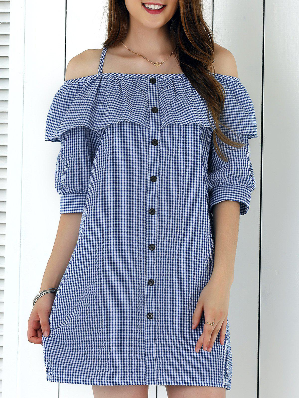 Preppy Style Spaghetti Strap Buttoned Plaid Dress - BLUE XL