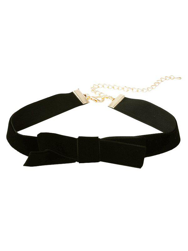 Cloth Bowknot Choker Necklace - BLACK