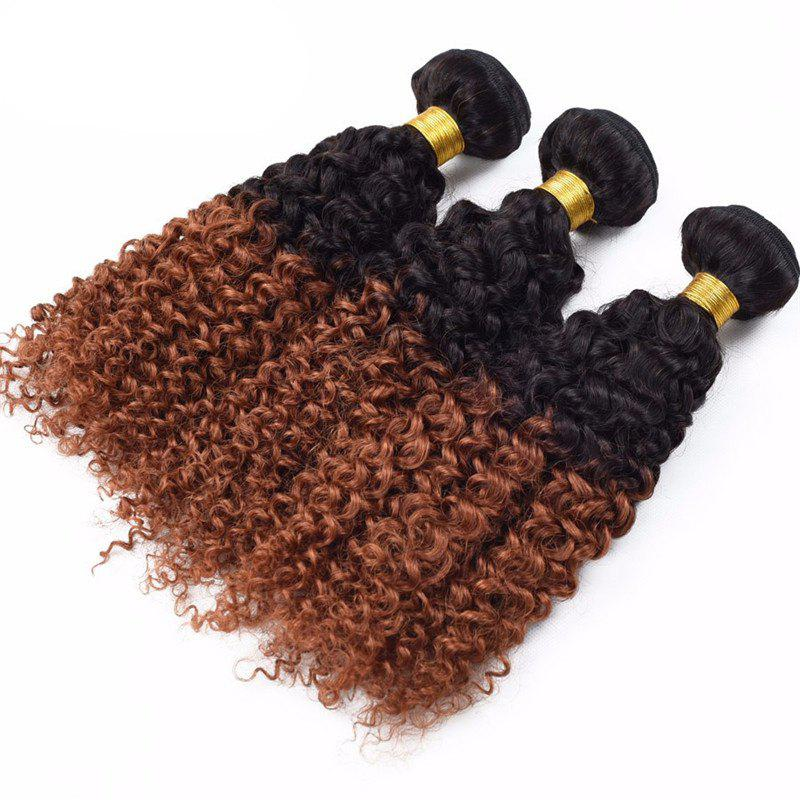 6A Virgin Brazilian Hair 1 Piece/Lot Shaggy Kinky Curly Black Brown Ombre Hair Weaves - COLORMIX 26INCH