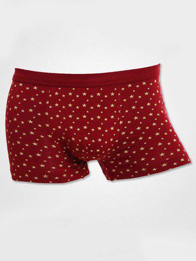 U Convex Pouch Design Stars Printed Boxer Brief - RED 3XL