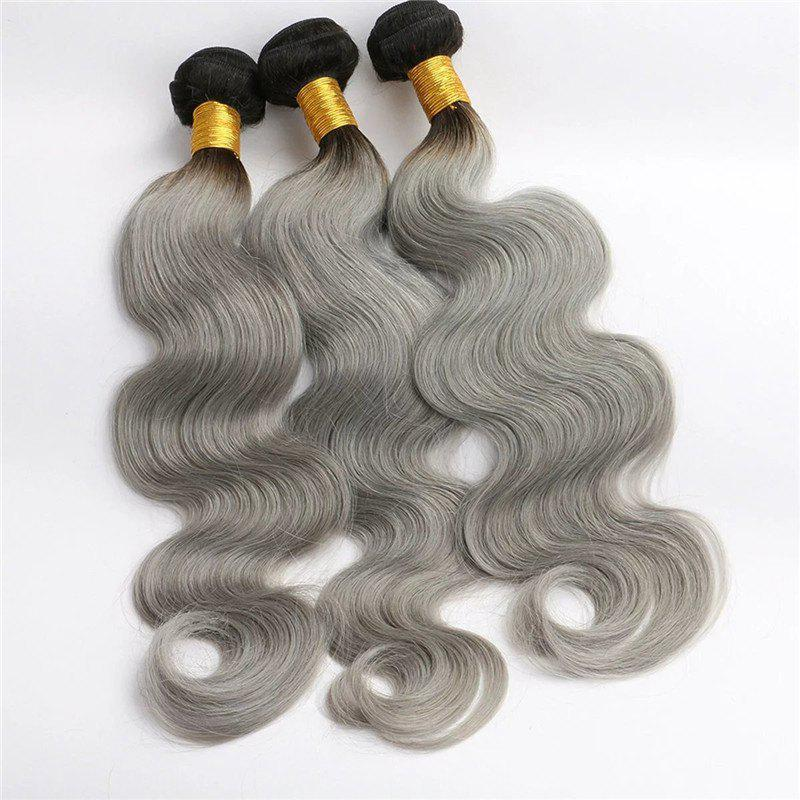 1 Piece/Lot Fluffy Body Wave Dark Root Ombre Gray 6A Virgin Brazilian Hair Weaves - COLORMIX 26INCH