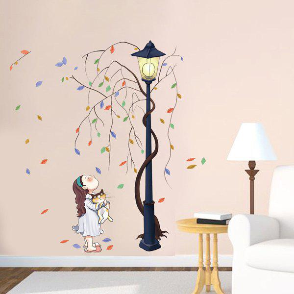 Removable Home Decor Girl Timbo Streetlight Wall Sticker - COLORFUL