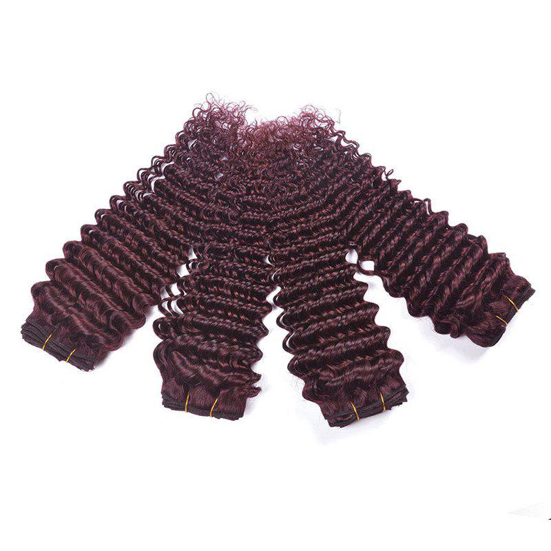1 Piece/Lot Fluffy Deep Wave Grade 6A Virgin Brazilian Human Hair Weaves - WINE RED 26INCH