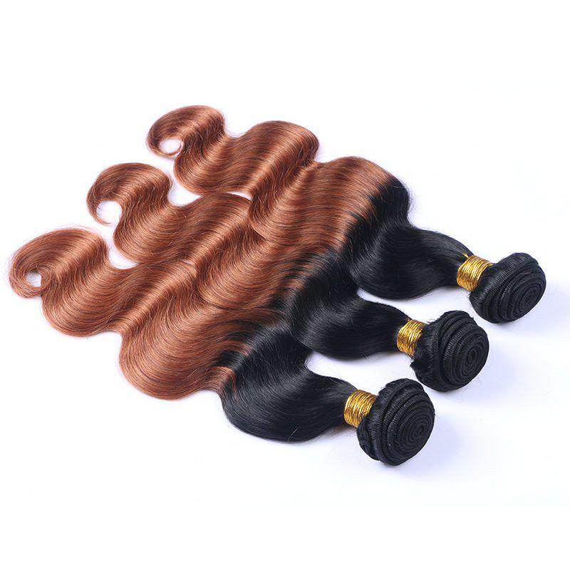 1 Piece/Lot Two-Tone Ombre Body Wave 6A Virgin Brazilian Hair Weaves - COLORMIX 26INCH