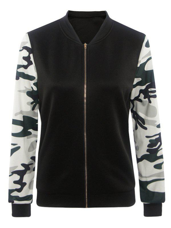 Camouflage Pattern Splicing Zippered Jacket - BLACK 2XL