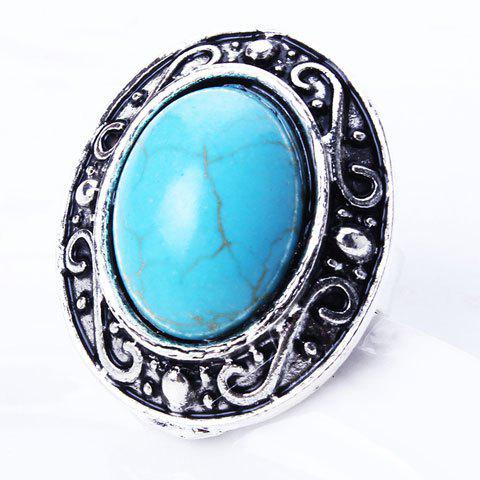 Vintage Embossed Oval Fuax Turquoise Ring - SILVER