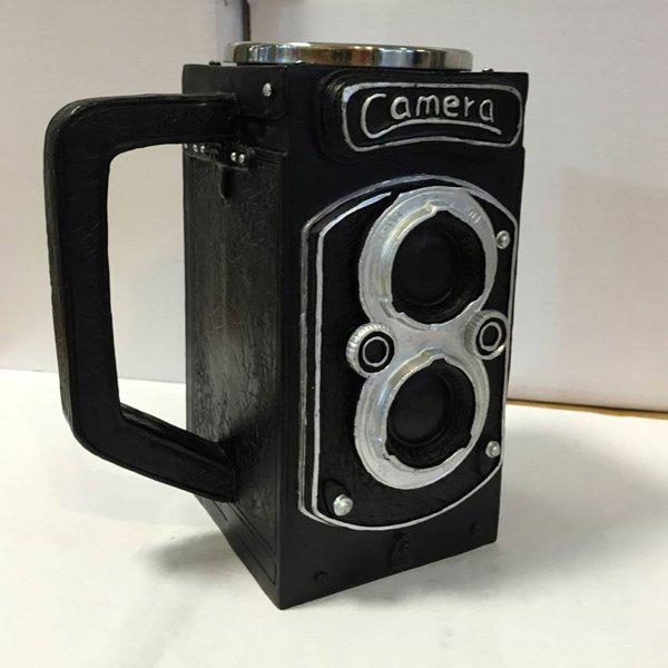 High Quality 300ML Resin Retro Camera Stainless Steel Single Layer Export Mug - BLACK