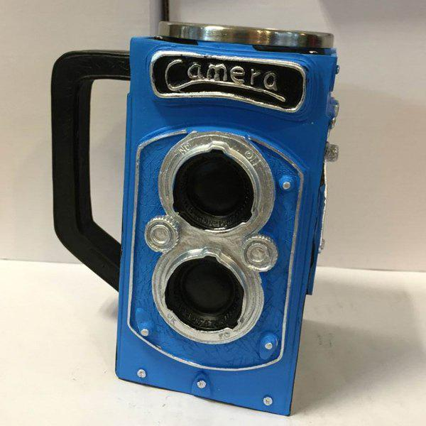 High Quality 300ML Resin Retro Camera Stainless Steel Single Layer Export Mug - BLUE