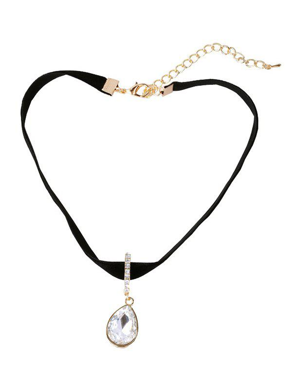 Faux Crystal Water Drop Choker Necklace