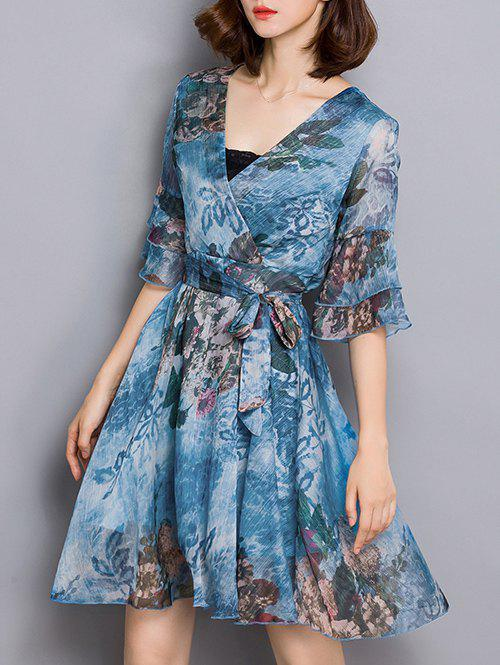 Wrap Print Ruffle Bell Sleeve A Line Dress - MEDIUM BLUE 2XL