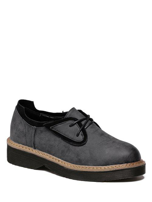 Tie Up Round Toe Splicing Platform Shoes - BLACK GREY 37