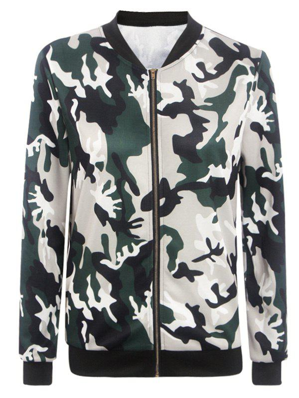 Stand Collar Camouflage Pattern Zippered Jacket
