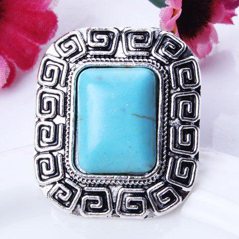 Stylish Fuax Turquoise Carved Rounded Rechtangle Ring - SILVER