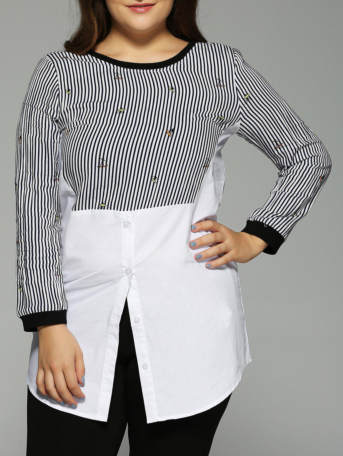Oversized Elegant Button Cartoon Stripe Print T-Shirt - STRIPE 5XL