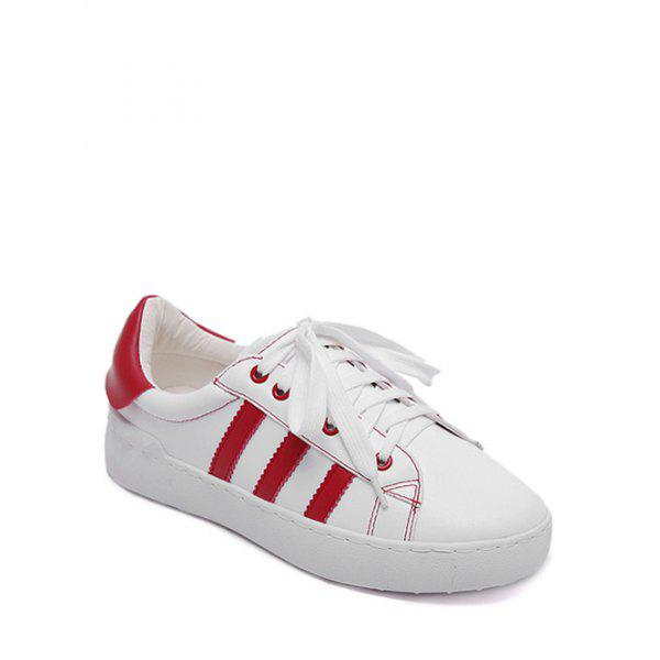 PU Leather Tie Up Striped Athletic Shoes