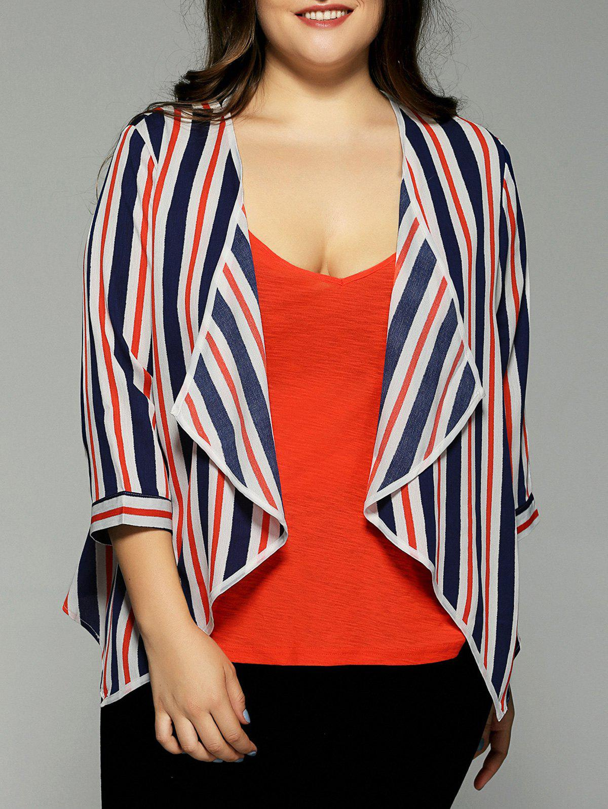Plus Size Hit Color Stripe Chiffon Jacket - STRIPE 4XL
