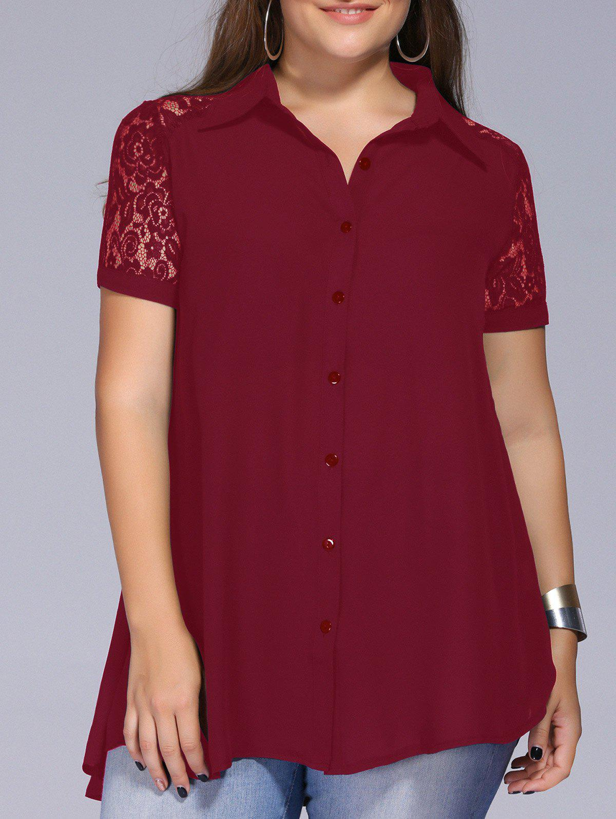 Lace Trim Plus Size Blouse - WINE RED 2XL