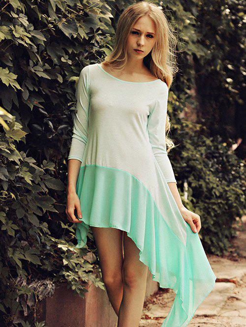 Scoop Neck Splicing Asymmetrical Dress - MINT GREEN XL