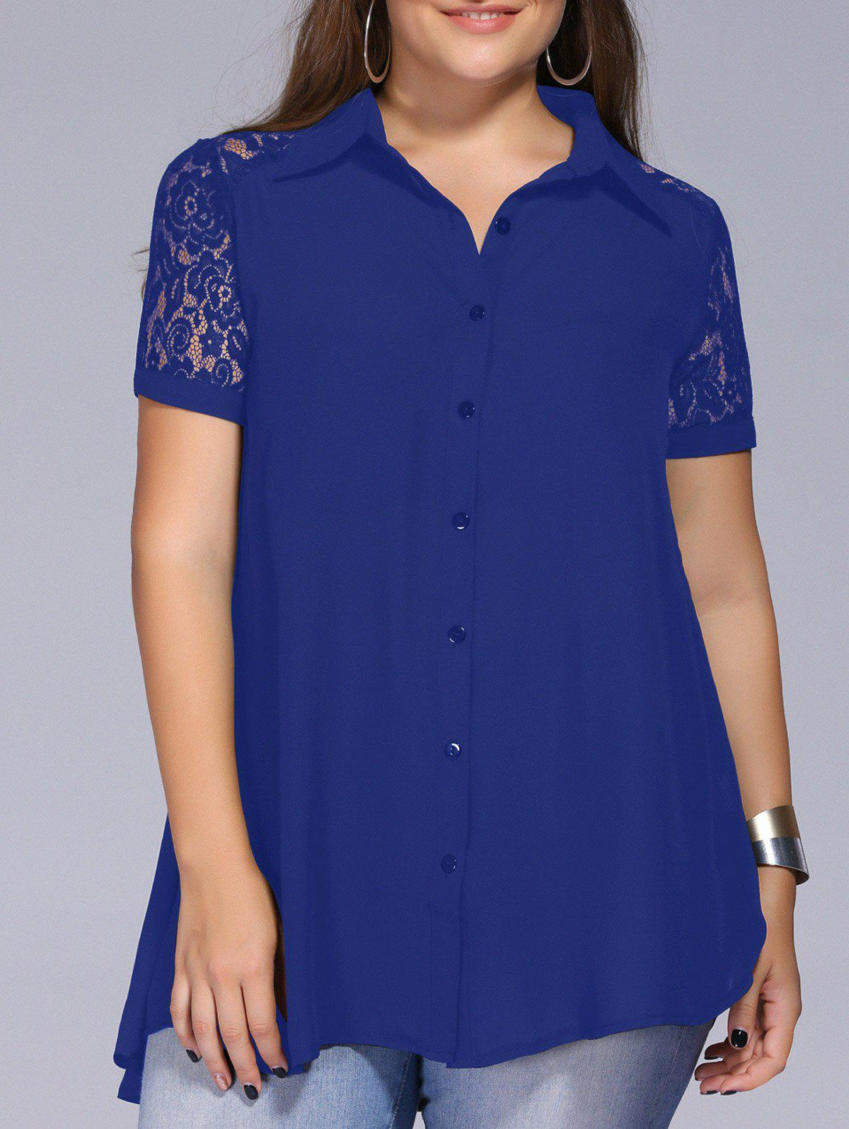 Lace Trim Plus Size Blouse - BLUE 2XL